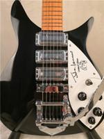 John Lennon 325 Short Scale Lengte 527mm 6 String Black Electric Guitar Bigs Tremolo, Gloss Paint Fingerboard, 5 graden Hoekkop