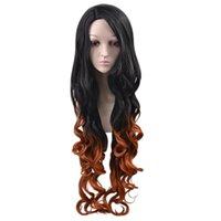 peluca femenina de Europa y América el pelo largo y rizado colorante natural cubierta de pelo sintético de las mujeres peluca gradiente