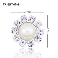 12pcs lot Flower Center Crystal Buttons Pearl Embellishment for Wedding  Party Card Handmade Rhinestone Flat Back Accessory NK014 c3fac06092c1