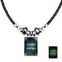 Luminous sinal do zodíaco Chains pendant corda colares brilham no escuro 12 Constellation pingente de vidro de couro Declaração Vintage Jóias