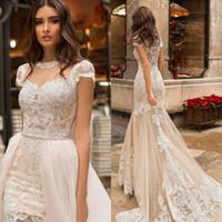 Abiti da sposa sexy sexy champagne con treno staccabile in pizzo applique maniche corte abito da sposa abiti da sposa abiti da sposa vestido de noiva