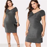 2020 여성 드레스 Bowknot 파티 연필 드레스 플러스 사이즈 짧은 소매 의류 섹시한 여성 드레스 파티 의류 큰 사이즈 드레스