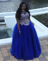Plus Size Royal Blue Prom Dresses A Line Gold Appliques Tull...