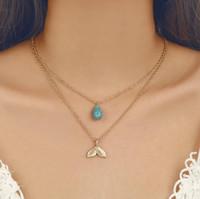 Женская Ожерелье Lariat Mermaid Tail Turquoise Подвеска золотой тон Многослойные ожерелья