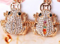2019 Cute Trinket Rhinestone Gold Coin Frog Key Chains Car K...