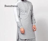 Homens Jubba Thobe árabe muçulmano roupa islâmica Dubai Kaftan Gym Fitness Top manga comprida Arábia Saudita Camisola encapuçado Jogging