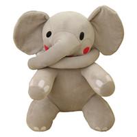 البوب طويل الأنف الفيل الكرتون الناعمة الفيل أفخم لعبة عناق وسادة الطفل النوم دمية هدية عيد 24 بوصة 60 سنتيمتر DY50614