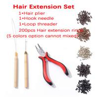 Em estoque! 200pcs Micro Links / Beads 1 PCS Puxando Agulha + 1 PCS Loop Threader + 1 Pc Alicate Extensões de Cabelo Kit de ferramentas para extensão de cabelo de penas