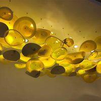 Подвесные художественные креативные стеклянные потолочные плиты яркий цвет стеклянный цветок искусство муранского стекла цветок светодиодная люстра