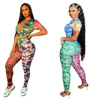 Mode Patchwork Couleur Tenues à manches courtes Zipper sexy Camouflage barboteuses Onesies Avslappnad Jumpsuit Pull Nightclub Vente Costume