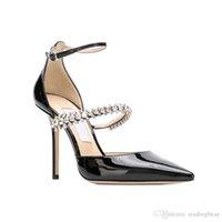 Dreamy scarpe da sposa Iinen pelle verniciata a punta con cinturino Pompe di cristallo del progettista Tacchi alti pattini di vestito formato 34-40