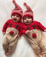 Bebek Noel Jumpsuit Karikatür Moose Baskılı Kaşmir tulum Çocuk Tasarımcı Giyim Kız Kıyafetler Katı Şapka 0-2T 24 saat teslimat