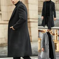 UK Mens Casual Coat Slim Trench hiver chaud simple boutonnage Outwear Veste longue Pardessus Nouveau