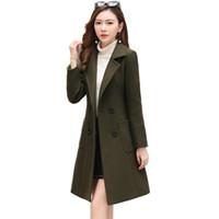 2019 Yeni Yün Ceket Kadın Uzun Kollu Kış Moda Uzun Dış Giyim Yün İnce Coat Suit-elbise Parka Palto kadın Ceket