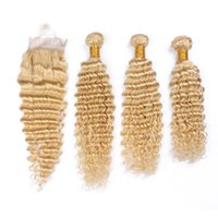 # 613 Blonde brasileño virginal de las tramas del pelo con el encierro de la onda profunda onduladas blanqueo Rubia pelo humano teje 3 Paquetes con cierre delantero del cordón 4x4