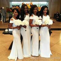 أفريقي أبيض طويل وصيفة الشرف فساتين 2018 جديد الطابق طول قصيرة أكمام أثواب الزفاف وصيفات الشرف فستان مخصص زائد الحجم
