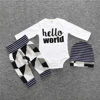 Conjuntos de roupas infantis estilo Outono Roupas infantis de algodão com mangas compridas 3 peças. terno do bebê do terno da cópia do moustache