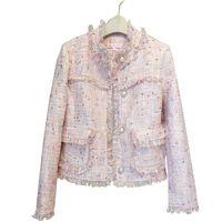 Banulin 2019 Marka Lady Kış İnciler Püsküller Yün Ceket Kaban Kadınlar Vintage Casaco Femme Sıcak Tweed Ceket Şık Palto