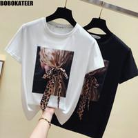 BOBOKATEER Moda Branca T shirt Mulheres Roupa 2019 Verão Casual Tops Mulher T-shirt preto Camiseta Femme manga curta Novo