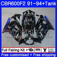 Cuerpo + tanque para HONDA CBR 600F2 CBR600FS CBR600F2 91 92 93 94 288HM.24 CBR 600 F2 FS CBR600 F2 1991 1992 1993 1994 Hot Blue Flames Carenado kit