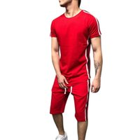 LASPERAL 남자 세트 패션 사이드 스트 라이프 패치 워크 망 sportwear Tracksuit 캐주얼 반소매 티셔츠 Drawstring 반바지 정장 남성
