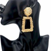 Las mujeres en bruto de metal cuelgan los pendientes de la vendimia geométrica punk joyería de moda pendiente de la gota de aleación grande declaración pendientes