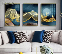 Modern Light Luxury Decoration Painting Sofa Background Wall Painting New Chinese Canvas Painting Villa Living Room Mural Poster