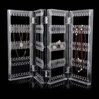 Behogar 4-Panel pieghevole acrilico trasparente gioielli espositore titolare cremagliera organizzatore per orecchini borchie bracciali collana