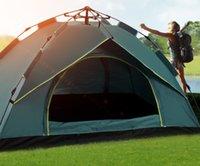Wholesale Открытый автоматические палатки, бросая всплывающие водонепроницаемые туристические палатки TENT водонепроницаемый большой семейный палатки УФ солнцезащитный крем Парк