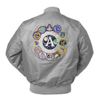 2019 New Spring Apollo Thin 100th SPACE SHUTTLE MISSION Thin MA1 Bomber Hiphop US Air Force Pilot Flight College Chaqueta para hombres