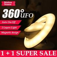 Portátiles Smart Auto On Off UFO 2 capas del sensor de movimiento LED de luz de la noche