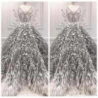 2019 Novo Cinza V Pescoço Vestidos Formais Noite de Penas Ocasião Especial Vestidos de Festa Celebridade Rendas Apliques de Baile Vestidos de Luxo