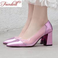 FACNDINLL Büyük Beden 34-43 2020 Yeni Bahar Yaz Kadınlar Yüksek Topuklar Ayakkabı Kadın Elbise Çalışma pompaları Kızlar Moda Topuklu
