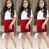 Crianças Criança do bebé que Verão Top T-shirt Vest + Saia Roupa Moda Outfits Set