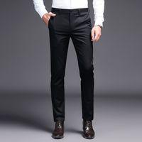 2019 Erkekler elbise pantolon Haki takım elbise pantolon Moda Marka siyah iş pantolon erkek Düz Renk skinny pant ...