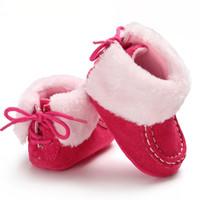 Новая зимняя теплая ручная работа Prewalker плюшевые сапоги малыш девочка мальчик анти-silp Prewalker флис зашнуровать ботинок снег детская кроватка обувь пинетки