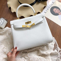 25cm 28cm Brand Women Totes White color Soft Genuine leather...