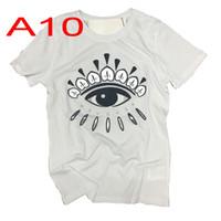 El hombre de moda Marca Camisetas de alta calidad del bordado del ojo camisetas Señora de Hip Hop Carta de manga corta al por mayor del envío de la gota
