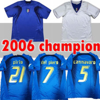 2006 Italien Gattuso Retro Soccer Jersey Cannavaro Francesco Totti del Piero Nesta Inzaghi Pirlo Materazzi Toni 06 Italia Football Hemden