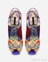 atada-Cruz 2020 de las señoras del diamante del cuero de patente Chunky de tacón peep-toes hebilla de la correa de las sandalias de la boda de Paisley Impreso
