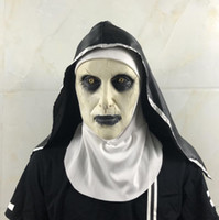 Retail Halloween A freira Horror Máscara Cosplay Valak máscaras de látex assustador completa Rosto Halloween Party Demon Helmet traje Props presente