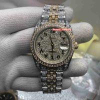 رجال الجديدة مقياس موضة الساعات الرقمي العربي ووتش الماس والذهب الوجه ووتش الماس كامل الشريط التلقائية ووتش ساعة اليد الميكانيكية