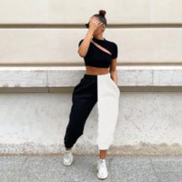 2020 New High Waist Black&white Patchwork Sporty Harem Pants Autumn Winter Women Loose Casual Sporty Streetwear Trousers