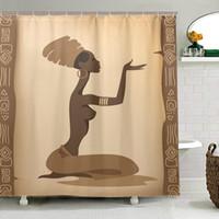 Umweltfreundliche Afrikanische Frauen Duschvorhang wasserdichtes Polyester-Gewebe Badvorhang für Badezimmer mit Haken Home Decor