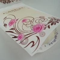 12x20 + 4 cm Branco Matte Transparente Zip Pouch Flor Rosa Impresso, Resealable Zipper Bloqueio Coffee Bean Embalagem Doypack, Pacote de Alimentos Sacos De Plástico
