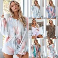 Женщины двух частей нарядов Cousssit с длинным рукавом Верх и шорты Установите галстур-краситель Pajamas костюм дамы бегущие костюмы GGA3408-1
