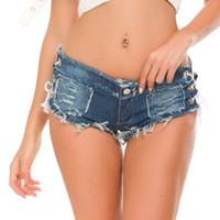 BNC donne sexy pantaloncini di jeans di modo di estate a vita bassa Denim annodata Banda Mini Short Beach partito casuale bicchierini sexy bikini Pantaloni fondo