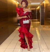 Aso Ebi Sereia Vestidos Noite Nigerian Styles Lace Appliques High Low Train Formal Vestidos Formal Plus Size Prom Vestidos Africano Robe de Soir