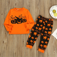 Halloween Kids Clothes Set Pumpkin Letter Toddler Boy Shirts...