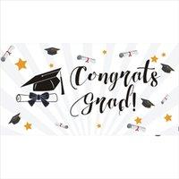 2020 Graduation Congratuly Grad Flag, 80% bleed Single Side Printing, Outdoor Indoor Hanging Advertising Polyester Fabric, Бесплатная доставка